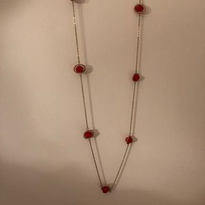 Red and gold pendant necklace from Evereve